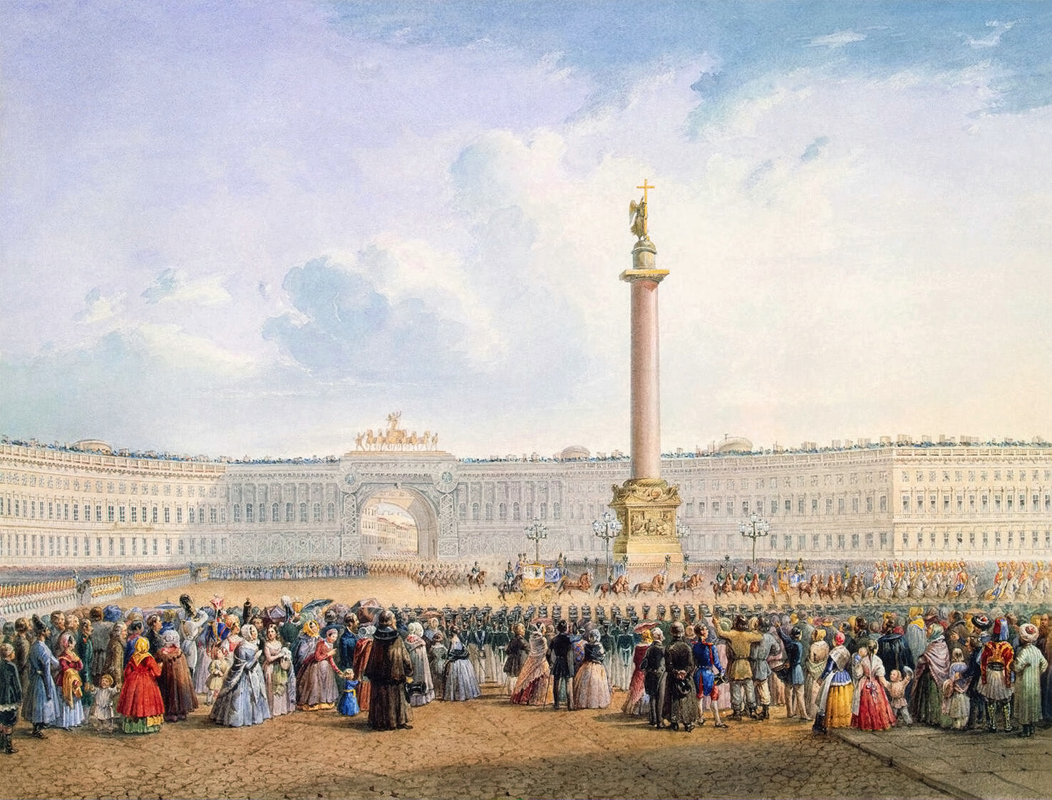 Palace square and the general headquarters building in st petersburg