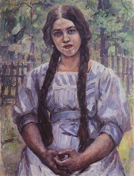 A girl with braids. Portrait of A. A. Dobrinskaya., 1910 - Vasily Surikov