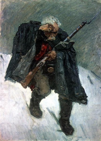 Old soldier descending from the snowy mountain, 1898 - Vassili Sourikov