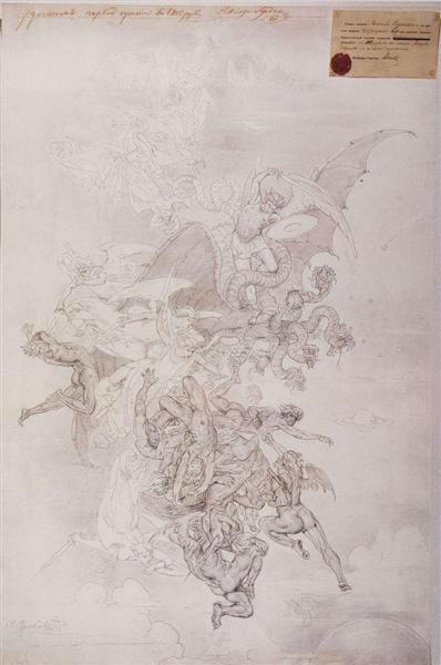 The fight of good spirits against evil spirits, 1875 - Wassili Iwanowitsch Surikow