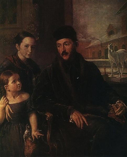 Portrait of D. P. Voyeikov with His Daughter and the Governess Miss Sorock, 1842 - Vasily Tropinin