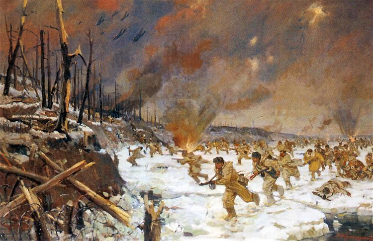 The Marines on the Fight at the Leningrad Front in January 1941, 1951 - Veniamin Kremer
