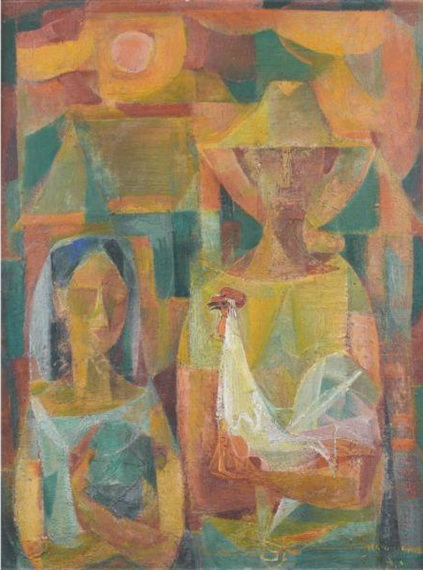 Man, Girl and Cock, 1953 - Vicente Manansala