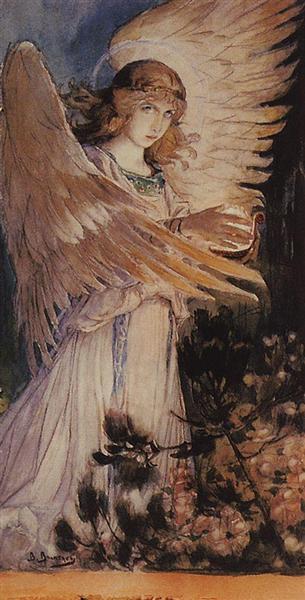 Angel with a lamp - Vasnetsov Viktor