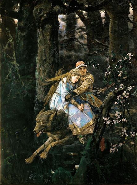 Ivan Tsarevich Riding the Grey Wolf - Viktor Vasnetsov