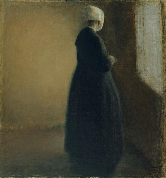 An old woman standing by a window, 1885 - Vilhelm Hammershoi