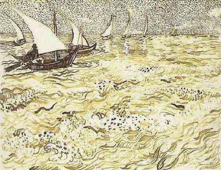 A Fishing Boat At Sea 1888 Vincent Van Gogh Wikiart Org