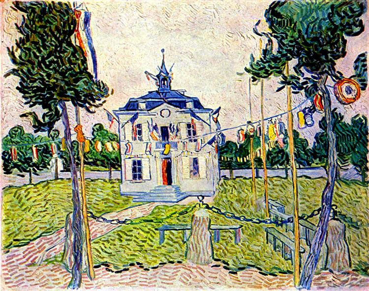 Auvers Town Hall in 14 July 1890, 1890 - Vincent van Gogh