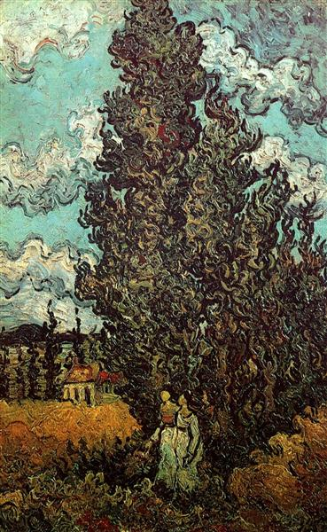 Cypresses and Two Women, 1890 - Vincent van Gogh