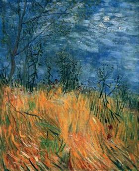 Borde de un campo de trigo con las amapolas, Vincent van Gogh