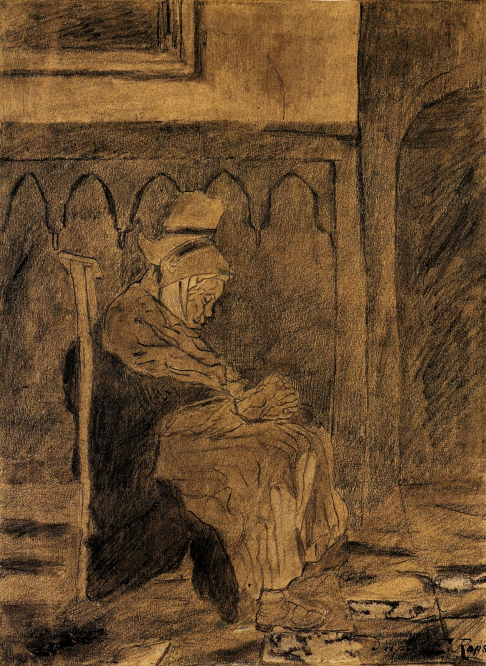 Old Woman Asleep after Rops, 1873