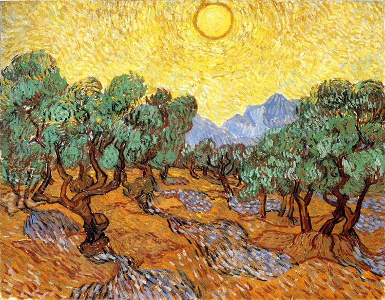 Olive Trees with Yellow Sky and Sun, 1889