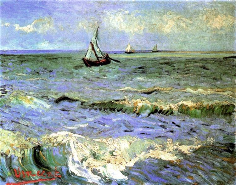 Seascape at saintes maries vincent van gogh wikiart for Disegno paesaggio marino