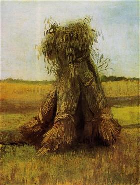 Gavillas de trigo en un campo, Vincent van Gogh