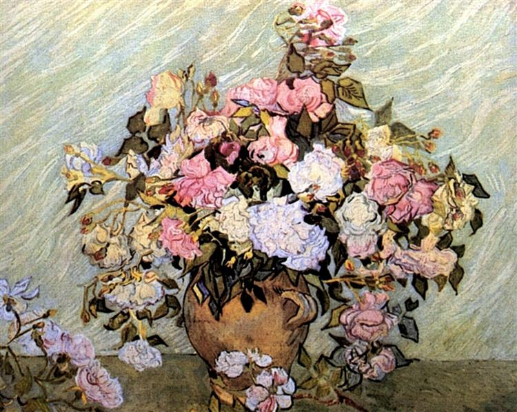 Still Life Vase With Roses 1890 Vincent Van Gogh