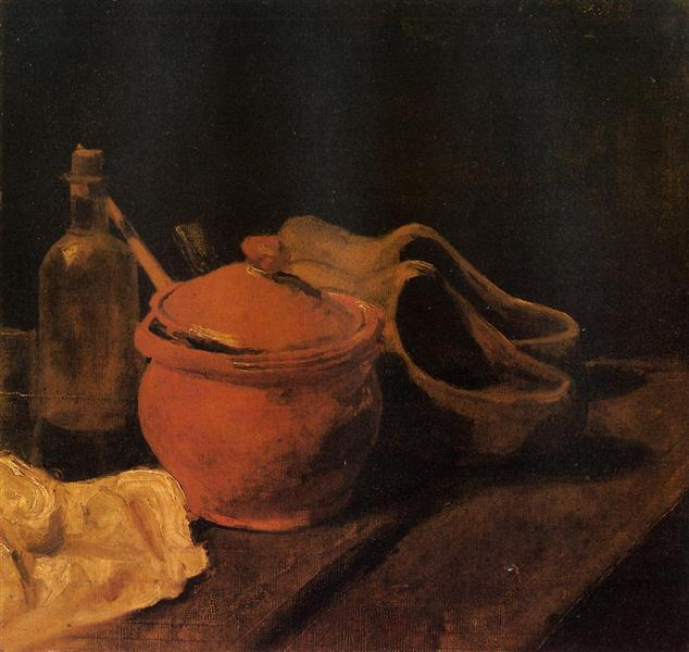 Still Life with Earthenware, Bottle and Clogs, 1885 - Vincent van Gogh