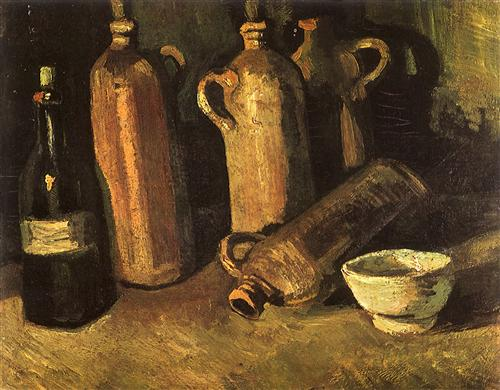 Still Life with Four Stone Bottles, Flask and White Cup  - Винсент Ван Гог