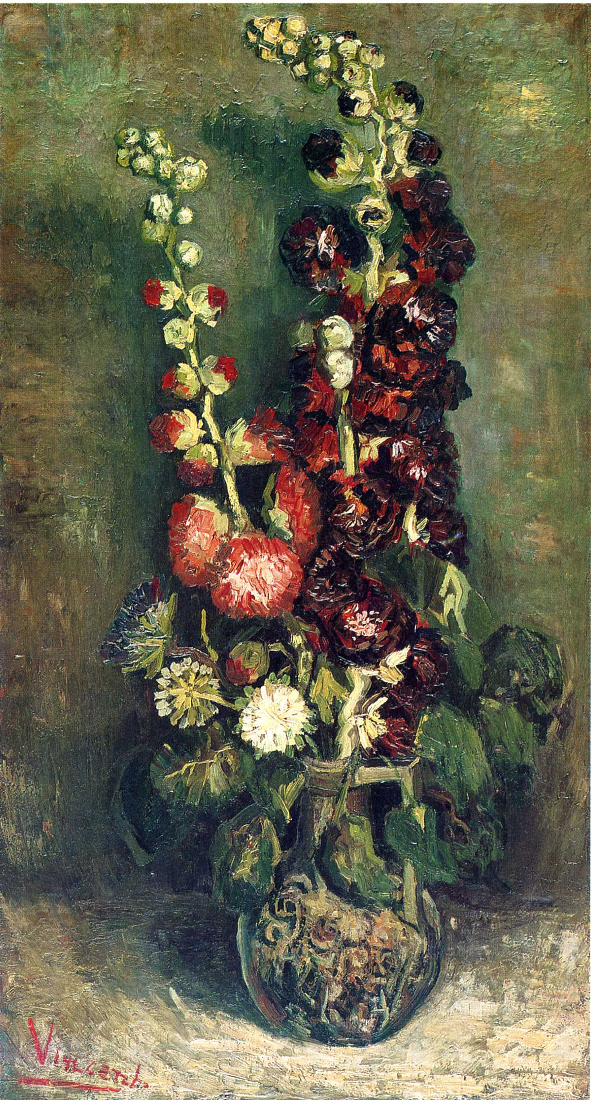 Vase of hollyhocks 1886 vincent van gogh wikiart vase of hollyhocks 1886 vincent van gogh reviewsmspy
