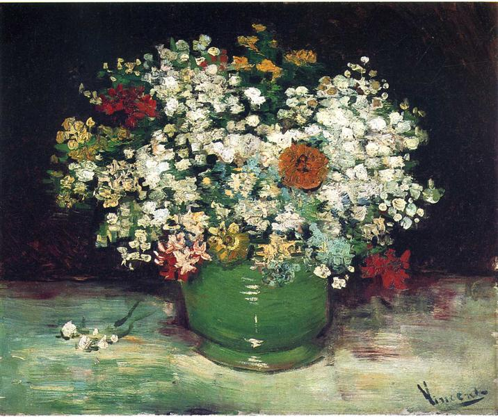 Vase With Zinnias And Other Flowers 1886 Vincent Van Gogh