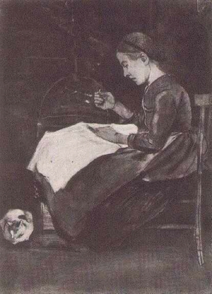 Young Woman Sewing, 1881
