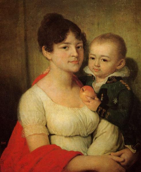 Portrait of an unknown with a child - Vladimir Borovikovsky