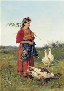 A girl with geese - Vladímir Makovski