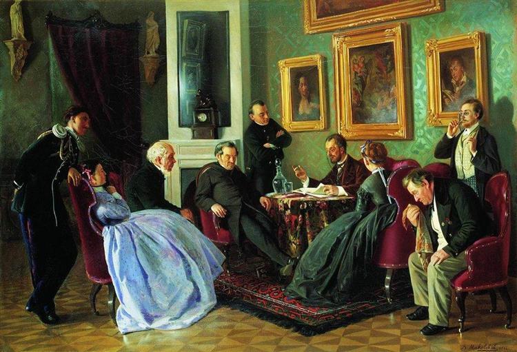 Literary reading, 1866 - Vladimir Makovsky