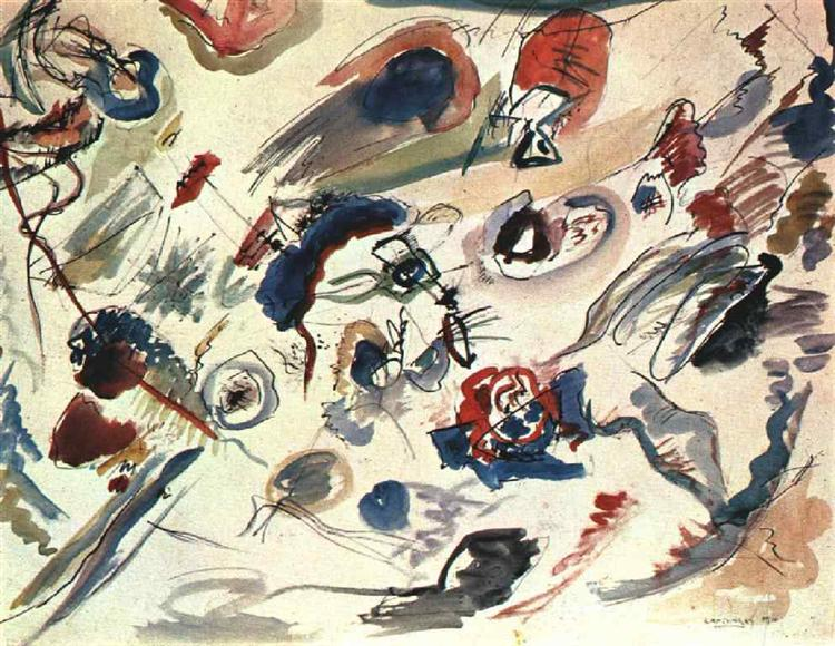 First abstract watercolor, 1910 - Wassily Kandinsky