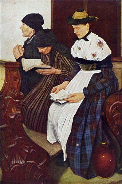 Die drei Frauen in der Kirche, 1881 - Wilhelm Leibl
