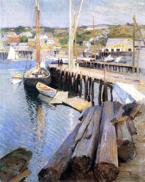 Fish Wharves - Gloucester, 1896 - Willard Metcalf