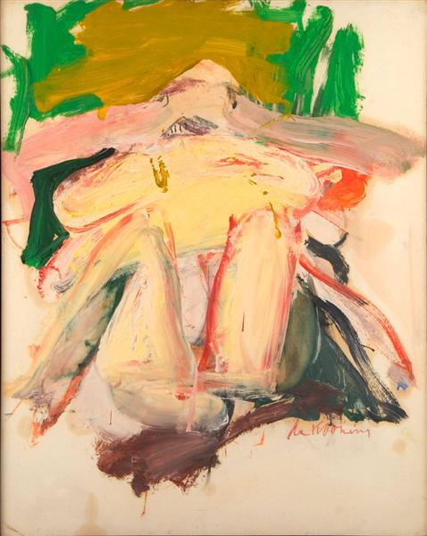 Woman with a Green and Beige Background - Willem de Kooning
