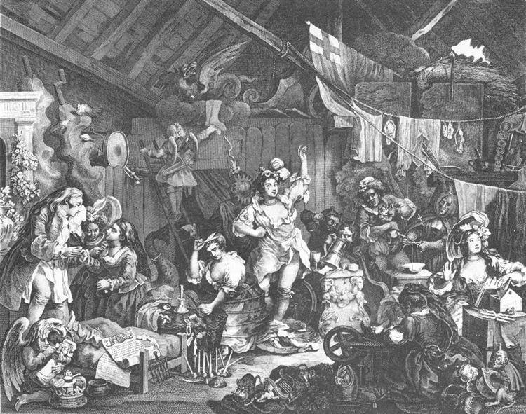 Strolling Actresses Dressing in Barn, 1738 - William Hogarth