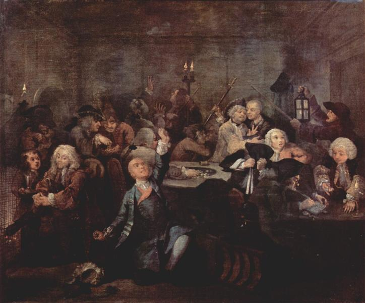 Rake's Progress' The Gaming House, 1732 - 1735 - Вільям Хогарт