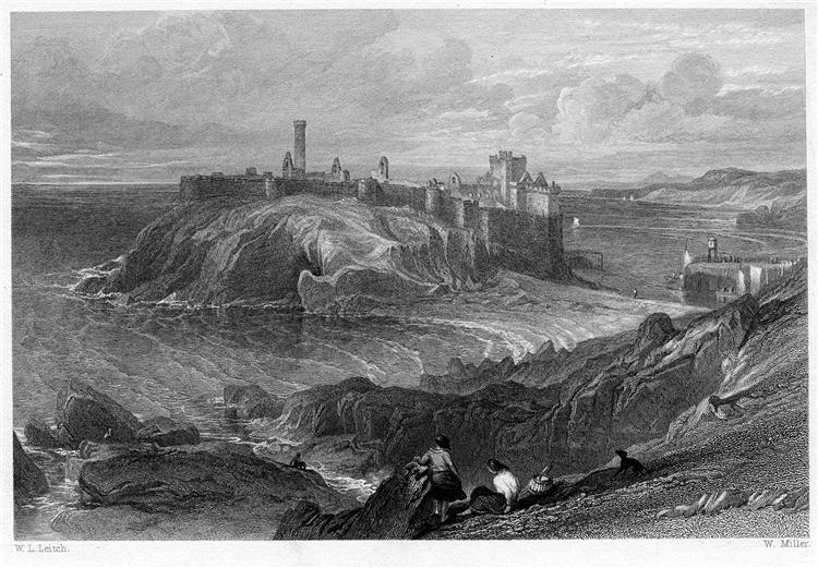 Peel Castle, Isle of Man, engraving by William Miller after Leitch, 1845 - William Leighton Leitch