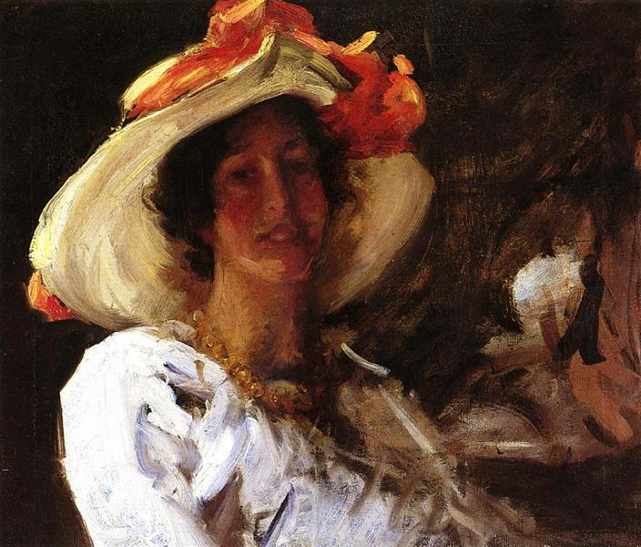 Portrait of Clara Stephens Wearing a Hat with an Orange Ribbon, 1913 - William Merritt Chase
