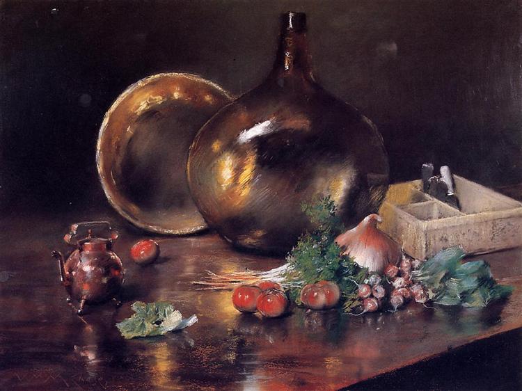 Still Life - Brass and Glass, 1888 - William Merritt Chase