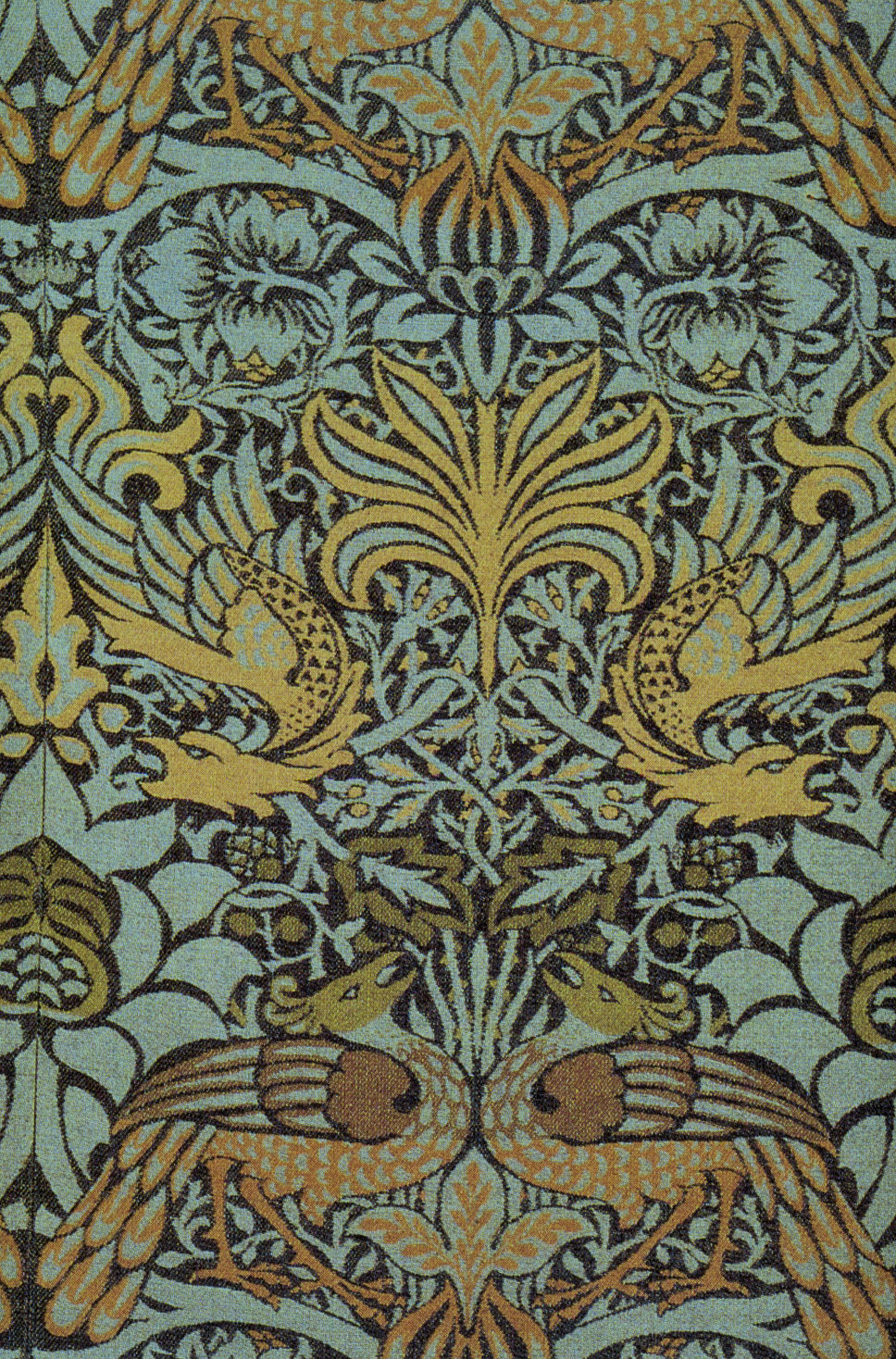Peacock and dragon woven wool furnishing fabric 1878 william morris wiki - Papier peint art nouveau ...