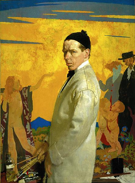 Self-Portrait painting Sowing New Seed, 1913 - William Orpen