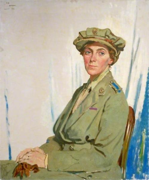 The First Chief Controller, Queen Mary's Army Auxiliary Corps in France, Dame Helen Gwynne-Vaughan, CBE, DSC, 1918 - William Orpen