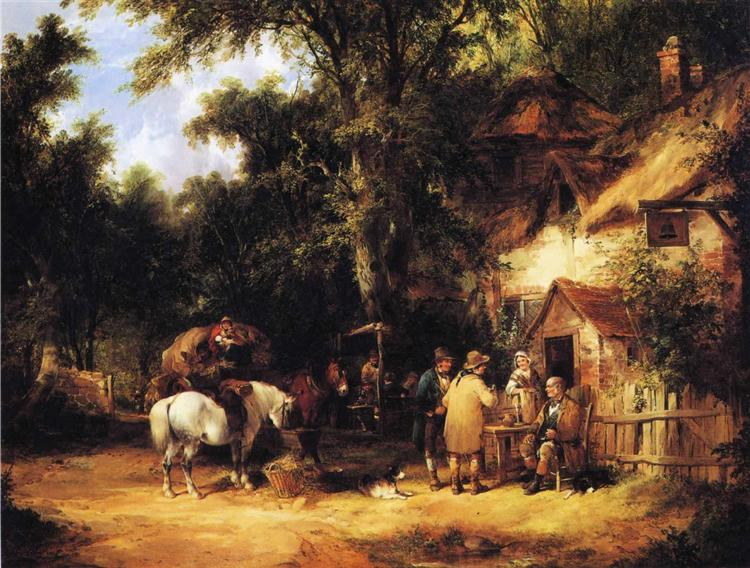 At the Bell Inn, Cadnam, New Forest - William Shayer