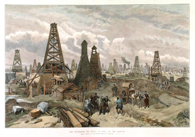 The Petroleum Oil Wells at Baku, on the Caspian - William Simpson