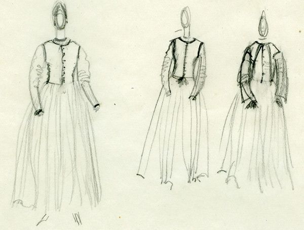 The Artist in a dress of her own design: three sketches, 1922 - Винифред Найтс