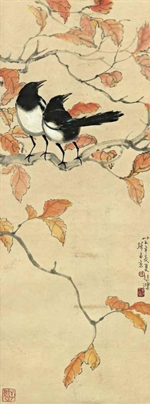 Magpies on a Tree Branch, 1946 - Xu Beihong