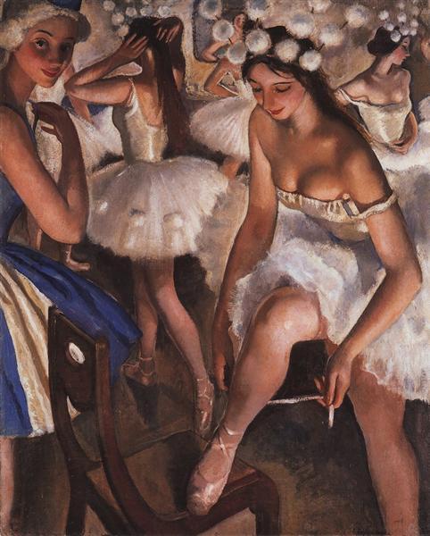 Балетная уборная(снежинки), 1923 - Зинаида Серебрякова