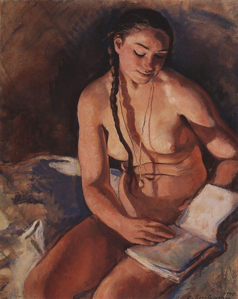 Nude with Book - Zinaida Serebriakova - WikiPaintings.