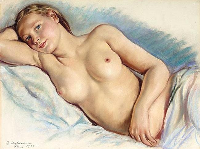 Reclining Nude - Zinaida Serebriakova - WikiPaintings.