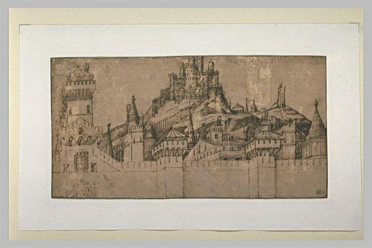 View of a fortification of Jerusalem - Jacopo Bellini